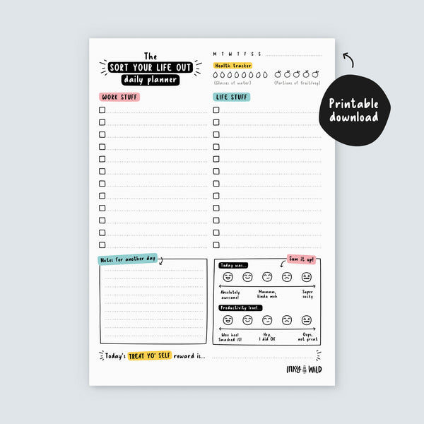 Printable A5 Sort Your Life Out Daily Planner (Instant Download)