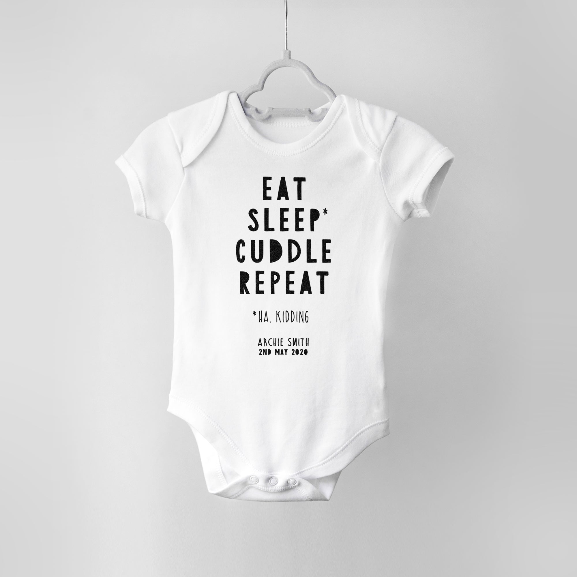 Eat Sleep Cuddle Repeat Personalised Baby Bodysuit