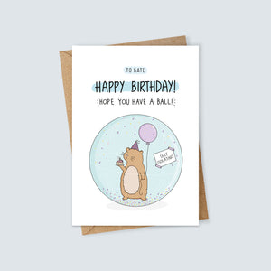 Personalised Self-Isolation Hamster Birthday Card