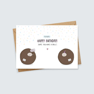 Personalised Self Isolating Hedgehog Birthday Card