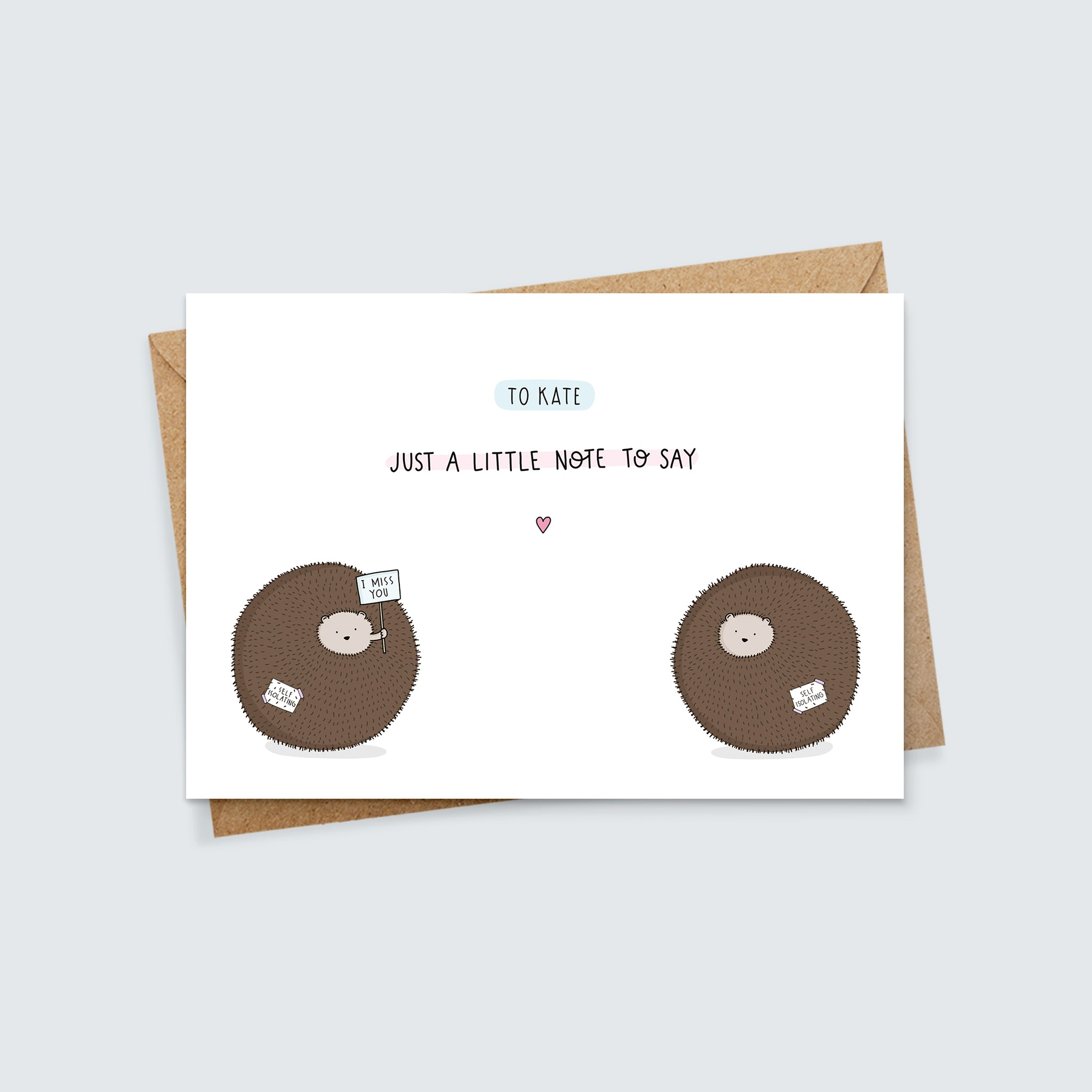 Personalised Self Isolating Hedgehog Miss You Card