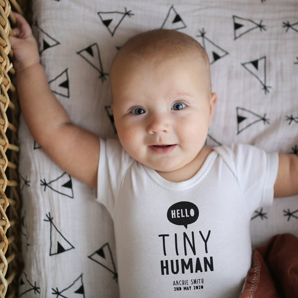 Hello Tiny Human Personalised Baby Bodysuit
