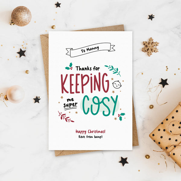 Super Cosy Pregnancy Christmas Card
