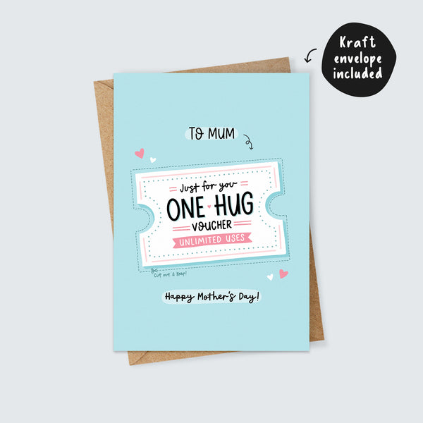 One Hug Voucher for Mum Mother's Day Card