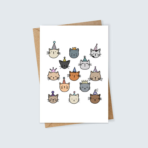 Cats in Party Hats Card