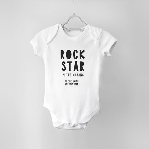 Rock Star in the Making Personalised Baby Bodysuit