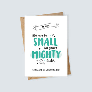 Personalised Small but Mighty Cute New Baby Card