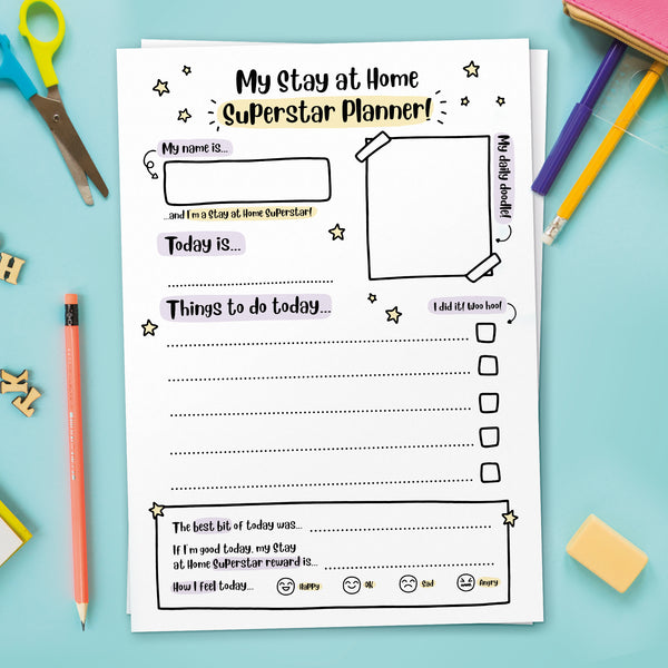 Printable A4 Stay at Home Superstar Planner (Instant Download)