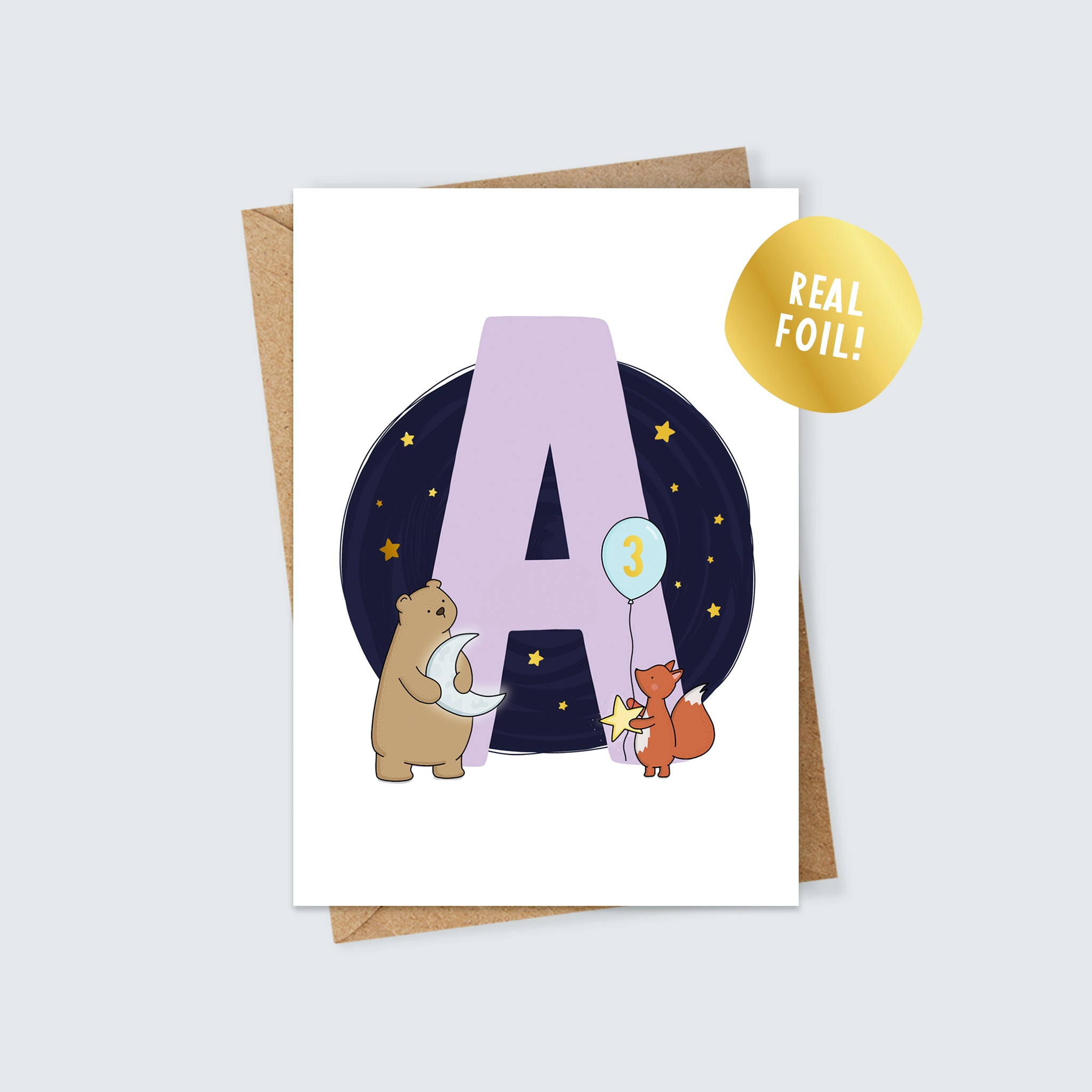 Personalised Woodland Animal Foiled Birthday Card