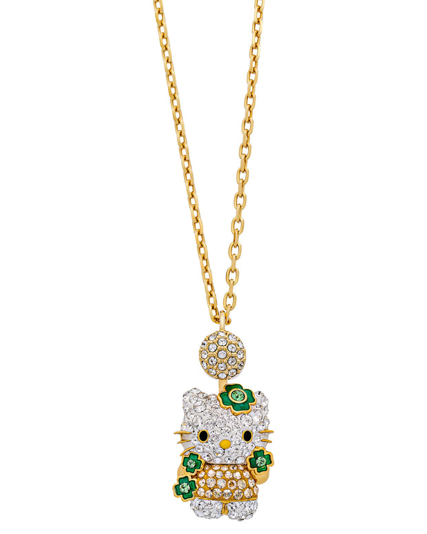 Swarovski Hello Kitty - Clover 23k Gold-Plated Green Crystal Necklace 5290518