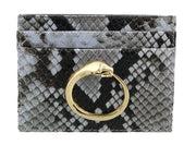 Roberto Cavalli Class Light Blue Millie Deluxe Snake Textured Credit Card Holder