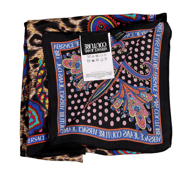 Versace Jeans Couture Leopard Print 100% Silk Scarf