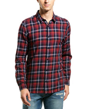 The Kooples Faded Check Fitted Woven Shirt