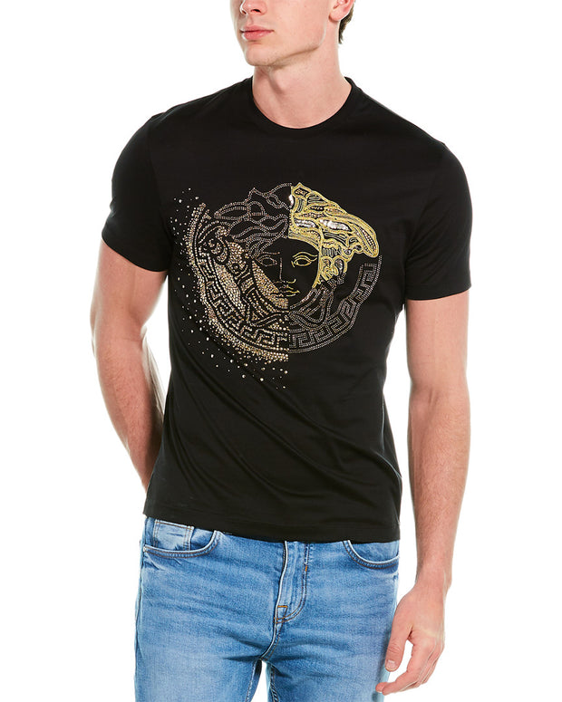 Versace Embroidered Crystal Medusa T-Shirt