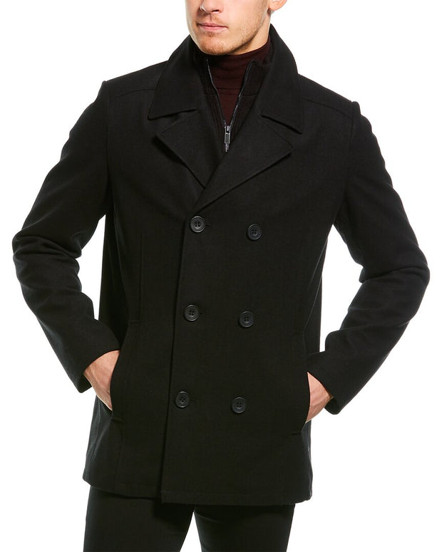 Kenneth Cole New York Classic Double-Breasted Wool-Blend Peacoat