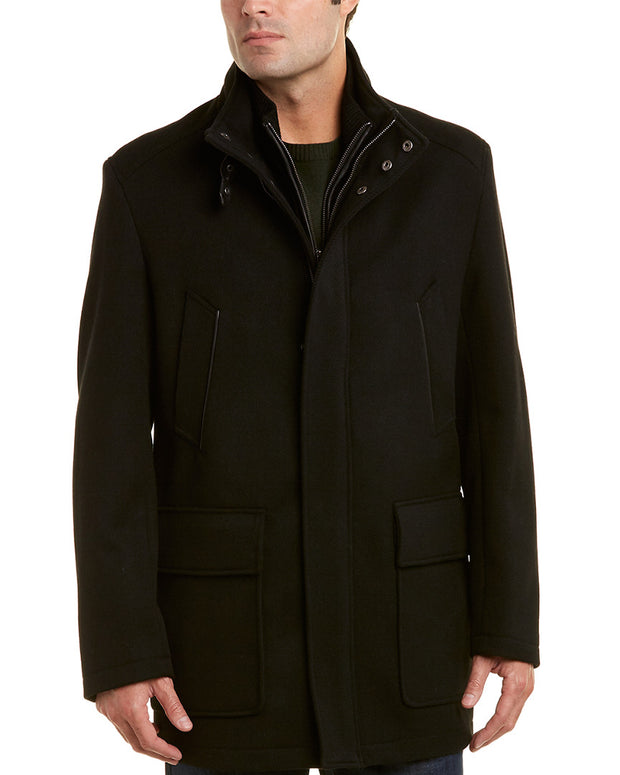 Cole Haan Modern Leather-Trim Wool-Blend Twill Jacket