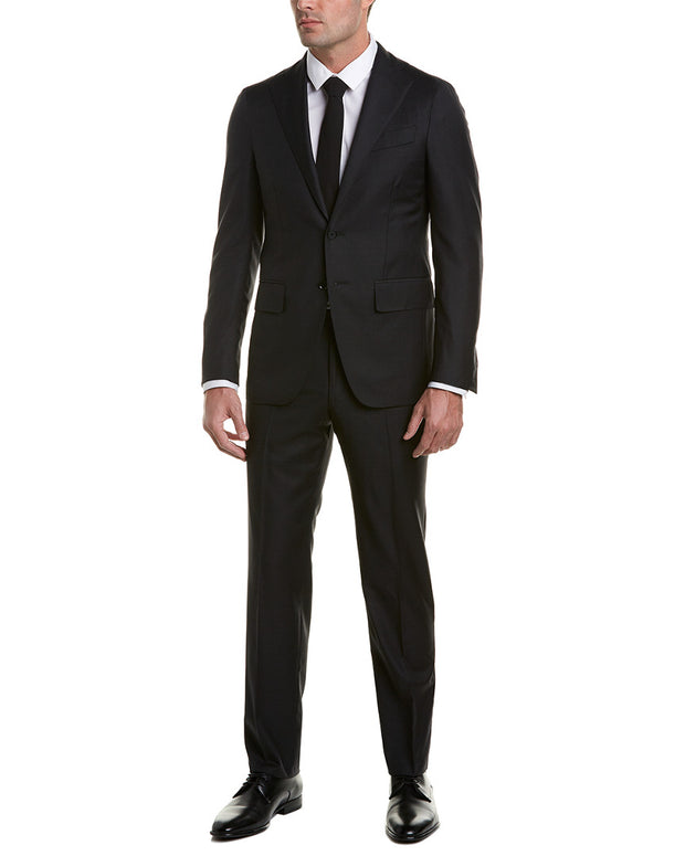 Eidos Wool Suit With Flat Front Pant