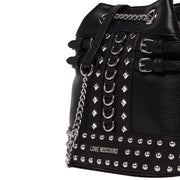 Love Moschino Black Silver Chain Rivets Backpack