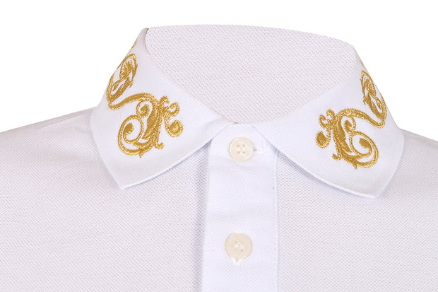 Versace Jeans Couture  100% Cotton Baroque Embroidered Collar Short Sleeve Polo  Shirt-