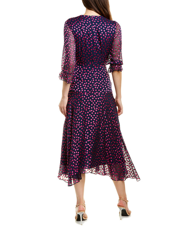Saloni Edith Silk-Blend Midi Dress
