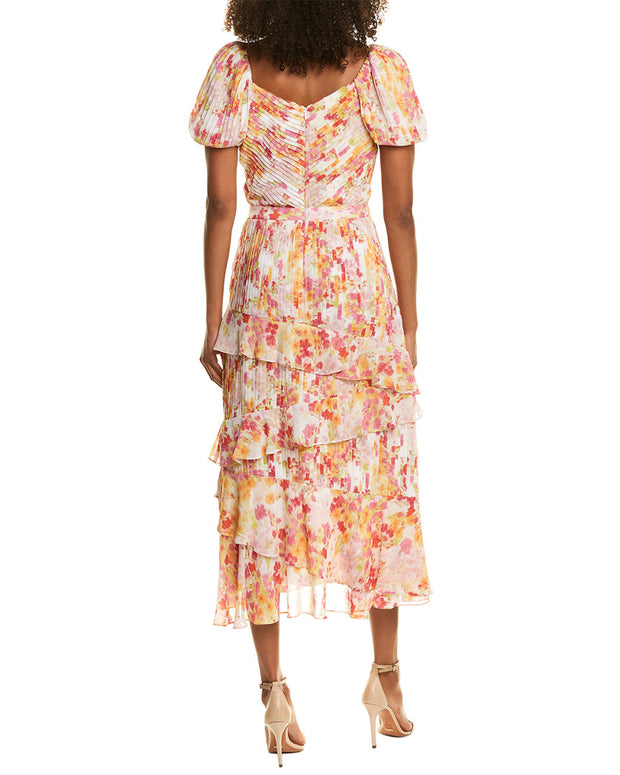 Ml Monique Lhuillier Pleated Midi Dress