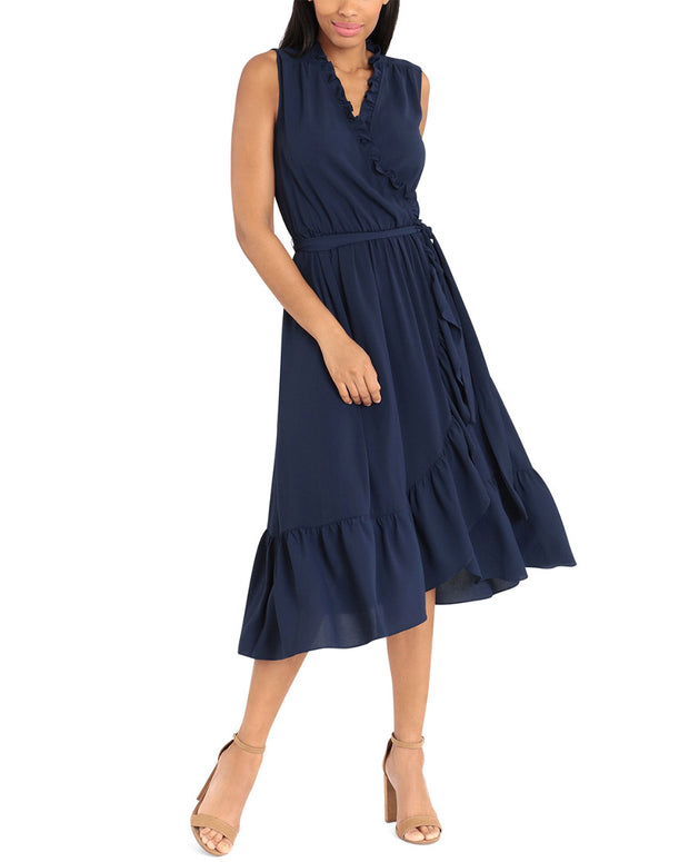 London Times V-Neck Midi Dress