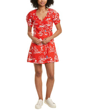 Tanya Taylor Alda Linen-Blend Wrap Dress