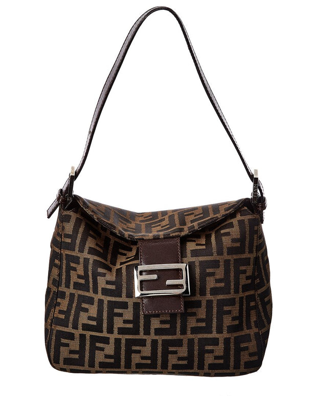 Pre-Owned Fendi Brown Zucca-Print Canvas Shoulder Bag