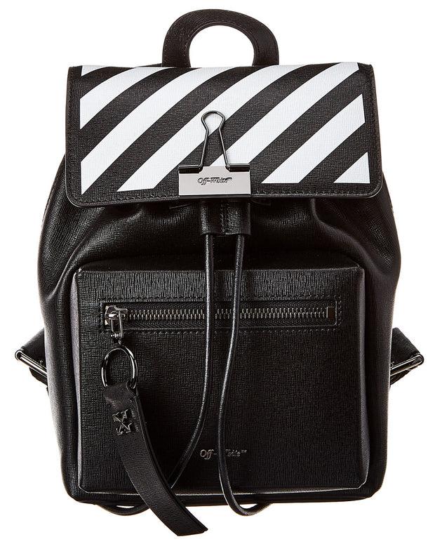 Off-White Diagonal Binder Clip Leather Backpack