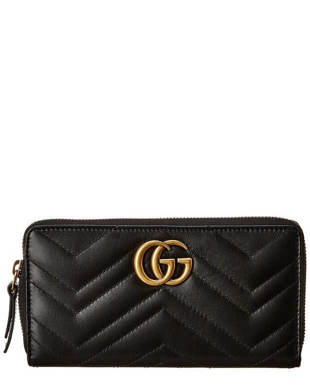 Gucci Gg Marmont Matelasse Leather Zip Around Wallet