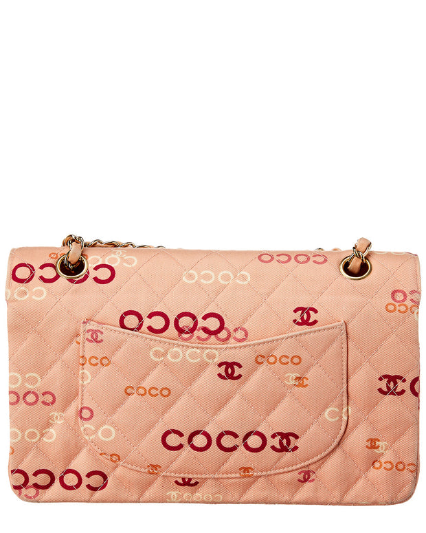 Pre-Owned Chanel Pink Quilted Canvas Medium Double Flap Bag