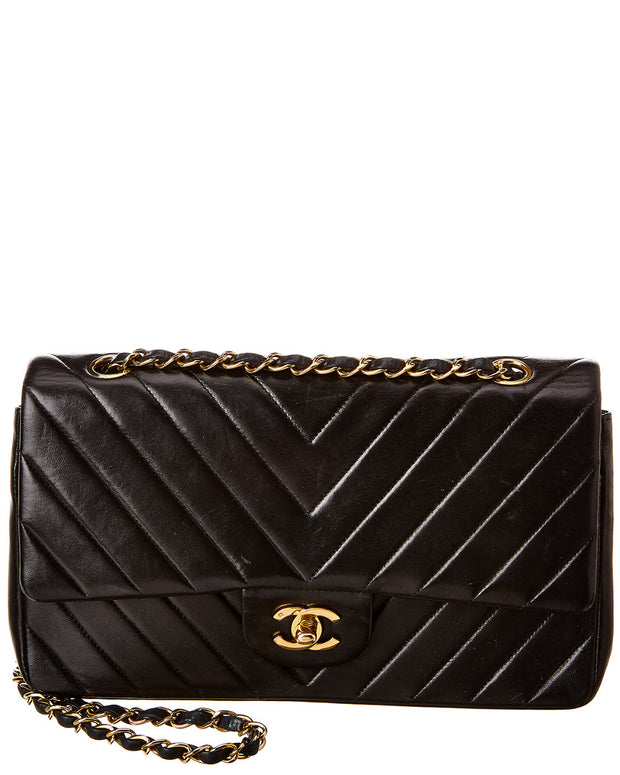 Pre-Owned Chanel Black Chevron Quilted Lambskin Leather Medium Double Flap Bag