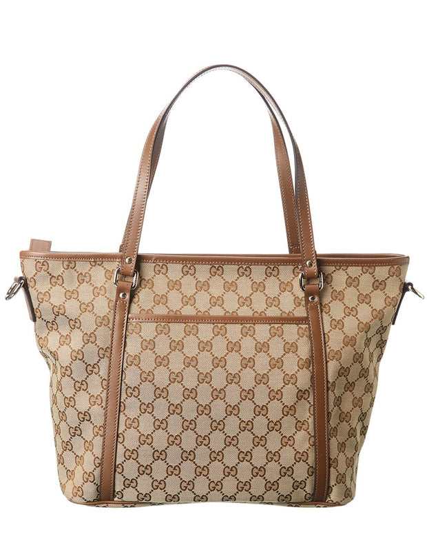 Pre-Owned Gucci Brown Gg Canvas & Brown Leather Shoulder Bag