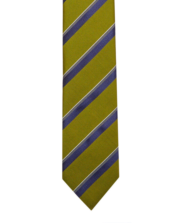 Brioni Green & Blue Stripe Silk Tie