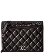 Pre-Owned Chanel Black Quilted Lambskin Leather Shoulder Bag