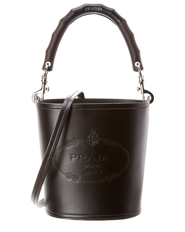 Prada Logo Print Leather Bucket Bag