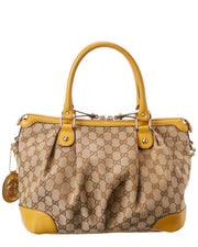 Pre-Owned Gucci Brown Gg Canvas & Yellow Leather Large Sukey