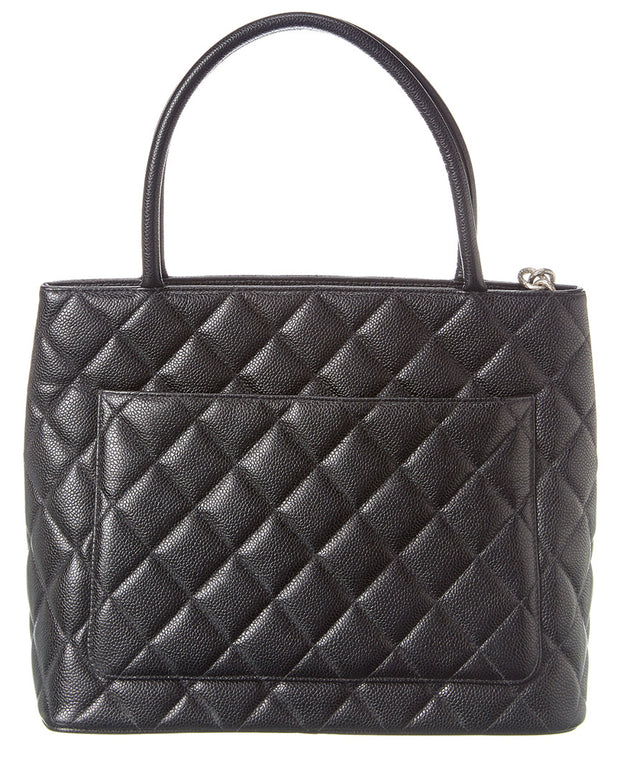 Pre-Owned Chanel Black Caviar Leather Medallion Tote