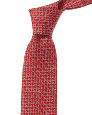 Salvatore Ferragamo Red Gancini Silk Tie
