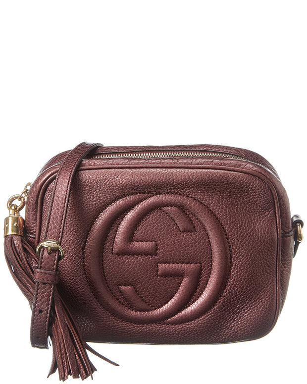 Pre-Owned Gucci Dark Purple Leather Disco Soho Bag