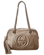 Pre-Owned Gucci Gold Leather Chain Soho Bag