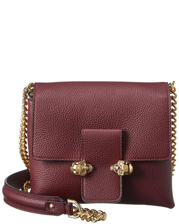 Alexander Mcqueen Twin Skull Small Leather Crossbody