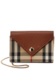 Burberry Vintage Check & Leather Card Case On Chain