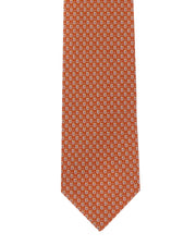 Salvatore Ferragamo Orange Gancini Padlock Silk Tie