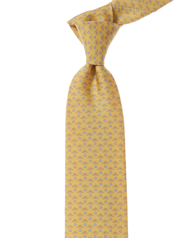 Salvatore Ferragamo Yellow Airplane Silk Tie