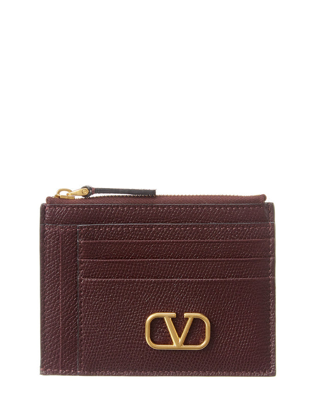 Valentino Vlogo Leather Card Holder