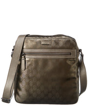 Pre-Owned Gucci Brown Metallic Imprime Large Messenger Bag