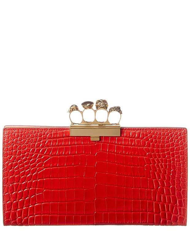 Alexander Mcqueen Skull Four-Ring Croc-Embossed Leather Clutch