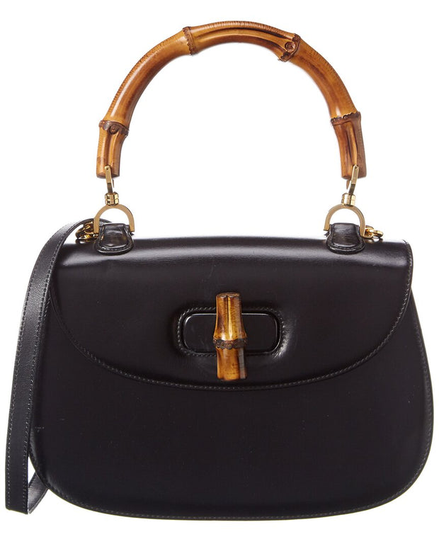 Pre-Owned Gucci Black Smooth Leather Bamboo 2-Way Handbag