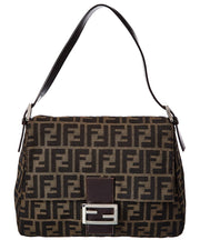 Pre-Owned Fendi Brown Zucca-Print Canvas Mama Bag